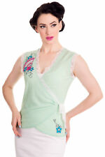 XS Beautiful Green Oriental Floral Fan Wrap Top Kyote Embroidered