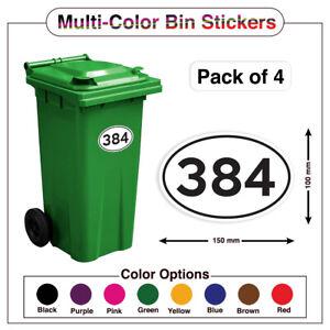 4x MultiColor Wheelie Bin House Number WaterProof Sticker Peel Stick A5/A6 PBN03