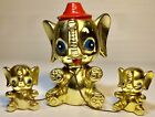 MCM Kitsch Gold Anthropomorphic Piggy Bank | Mother Elephant W/ Babies on Chains