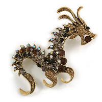 Huge Ornate Topaz/ Citrine/ Grey/ Black Crystal Chinese Dragon Brooch in Aged Go