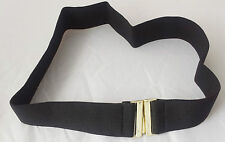 "50mm BLACK ELASTIC STRETCH CHROME CINCH BUCKLE NURSE BELT Size M ( 72cm 28.5"" )"