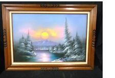 framed 44x31 Outdoor Painting by K. Horden winter lake sunset sunrise trees nice