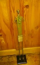 """Vintage Art Tall Metal Sculpture Person Playing Flute. Approx 26""""."""