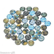 50PCs Mix Round Animal Glass Flat Back Cabochons Scraphook for Phone DIY Craft