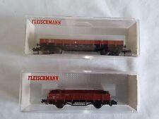 2X FLEISCHMANN DB RAIL WAGONS, 8281 DOUBLE BOGIE & 8200 FLAT WAGON MINT BOXED