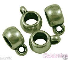 20 Antique Bronze Charm Holders LF CF NF Bail Beads Hangers  11.5mm