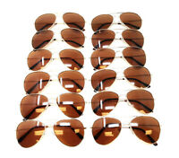 LOT 12 PIECES GOLD METALLIC FRAME BROWN LENSES PILOT AVIATOR SUNGLASSES CLASSIC