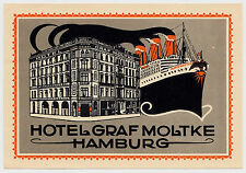 Hotel Graf Moltke HAMBURG Ship Imperator * Old Luggage Label Kofferaufkleber