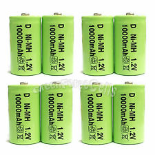 8 pcs D size 10000mAh 1.2V Volt Ni-MH Rechargeable Battery Cell LR20 US Stock