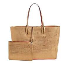 Christian Louboutin CABATA Laminated Cork Spiked Studded Tote Bag Gold $1690