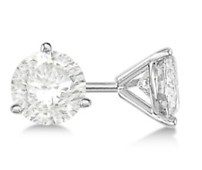 Lab Grown Round Diamond Stud Earrings 1 CTTW H-I VS2 3-Prong Pushback 14K WG