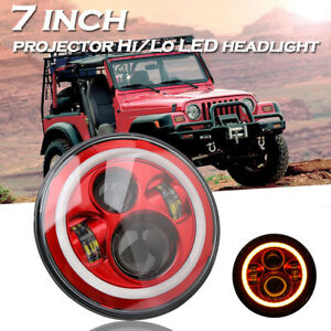 7Inch Round LED Headlight Halo Angle Eyes Red For Jeep 97-2017 Wrangler JK LJ TJ