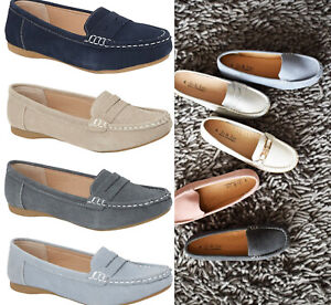Womens Suede Loafers Jo & Joe Soft Suede Slip On Flat Moccasins Shoes Size 3-8