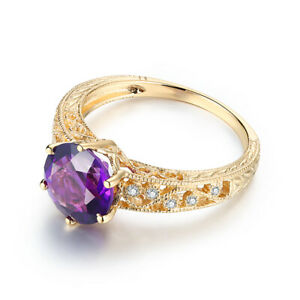 10K Yellow Gold 7.5mm Round 1.7ct Amethyst Diamond Wedding Anniversary Ring Gift