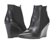 Charles David Womens Black Leather Wedge Heel Short Ankle Booties Boots Sz 38