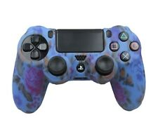 Silicone Grip Blue Floral Non Slip Soft Shell Cover For PS4 Controller