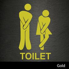 Funny Toilet Door Sign Vinyl Decal Sticker Wall Art Gold