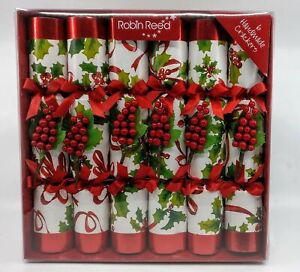 Robin Reed Winter Berry Holly English Party Crackers Poppers - Set of 6