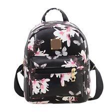Women's PU Leather Backpack Floral Handbag Schoolbag Shoulder Bag Travel Satchel