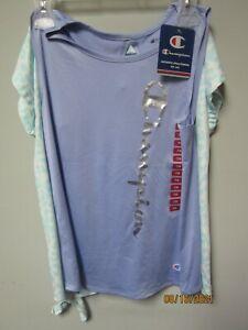Champion Youth Girls 2-Piece Blue Mist/Land Ice Shirts Size 7/8