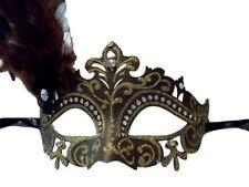 Brown Gold Mardi Gras Princess Venetian Masquerade Mask Feather