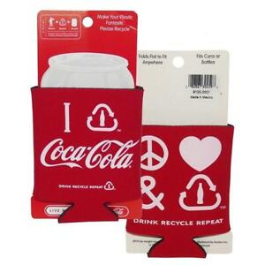 Coca-Cola Peace Love Recycle Coke Can Bottle Logo Koozie 2pk