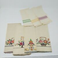 Vintage Hand Towels Embroidered Beige Linen Rectangle Floral Geometric 7