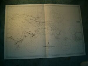 Vintage Admiralty Chart 3689 EASTERN PART OF HAITI to PUERTO RICO 1914 edn