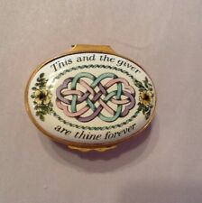 Bilston Batteresea Halcyon Enamel Box-This & The Giver are Thine Forever-1970's