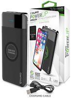 Aduro PowerUp Qi Wireless Power Bank 10,000mAh Dual USB Backup Battery Powerbank