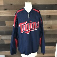 Minnesota Twins Majestic pullover 1/4 zip up Jacket size Large  blue/red