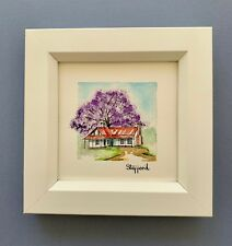 "Framed Original Miniature  Watercolour ""Jacaranda Glory""."