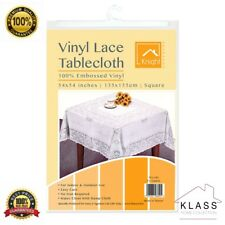 PVC 100% VINYL WHITE EMBOSSED LACE TABLECLOTH TABLE COVER SQUARE