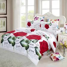 4Pcs 3D Red Rose Printed Duvet / Quilt Cover Bedding Set Queen King Size L6Z3