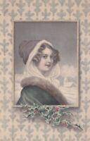 R.Wichera  Pretty lady  in fur trim , snow scene. M Munk