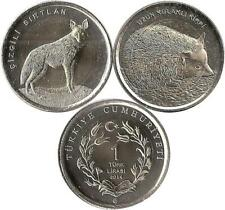 "Tuerkei 2 x 1 Lira 2014 ""Striped Hyena/Long Eared Hedgehog"""