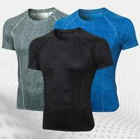 Mens Gym Workout Compression Fitness Base Layer Tights Shirts Underwear Tops