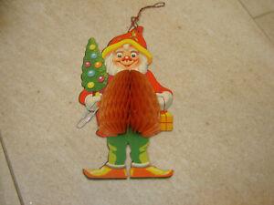 "Vintage Christmas Cardboard & Honeycomb Paper 6"" Elf Santas Helper Decoration"