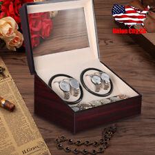 Leather Wood Storage Display Case Box Luxury 4+6 Automatic Rotation Watch Winder