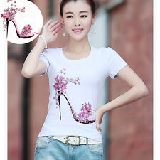 New Flower High Heels Patches 21.7*25cm Iron On Transfers For Clothing Stickers