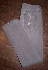 Guess Size 29 Women's Grey Low Rise Skinny Jeans with Rhinestone Logo