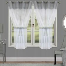 PAIR READY MADE CURTAINS Grey White VOILE EYELET RING