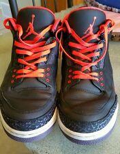 Nike Air Jordan III 3 Retro CRIMSON MENS SZ 13 BASKETBALL SHOES BLACK 2012