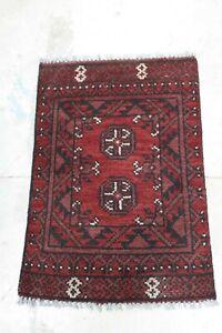 Genuine Afghan Aqcha - Hand Knotted Red & Black Bokhara Wool Small Rug  48x69 cm