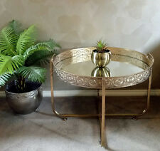 NEW ROUND COFFEE TABLE GOLD METAL FRAME MIRRORED TOP