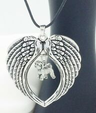 Shih Tzu Puppy Dog Lovers Angel Wings Memory Leather Necklace