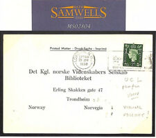 MS2804 1938 GB UNIVERSITY PERFIN *UC/L* Card VIKING SOCIETY Reply Norway Library
