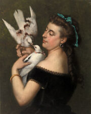 Woman with Pigeons by Gustave Courbet 60cm x 48cm Art Paper Print