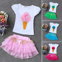 2PCS Toddler Baby Girls T-shirt Tops + Tutu Dress Skirt Outfit Sets Clothes