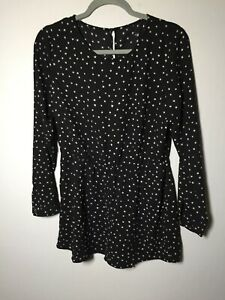 Unbranded womens black star print playsuit romper size 12 long sleeve good condt